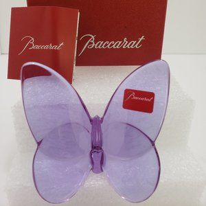 Baccarat Crystal Purple Violet Lucky Butterfly
